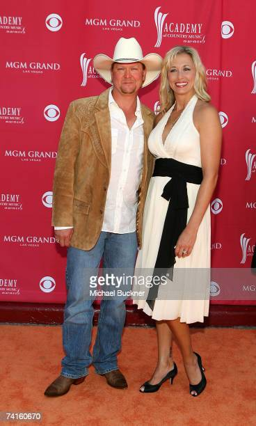 Musician Tracy Lawrence and wife Becca Lawrence arrive at the 42nd Annual Academy Of Country Music Awards held at the MGM Grand Garden Arena on May...