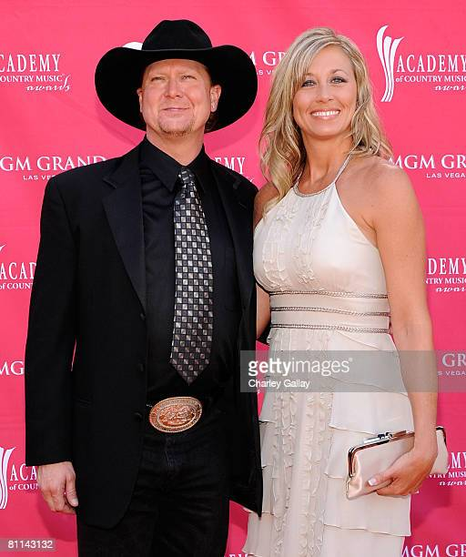Musician Tracy Lawrence and wife Becca Lawrence arrive at the 43rd annual Academy Of Country Music Awards held at the MGM Grand Garden Arena on May...
