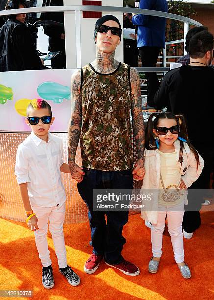 Musician Travis Barker and children arrive at Nickelodeon's 25th Annual Kids' Choice Awards held at Galen Center on March 31 2012 in Los Angeles...