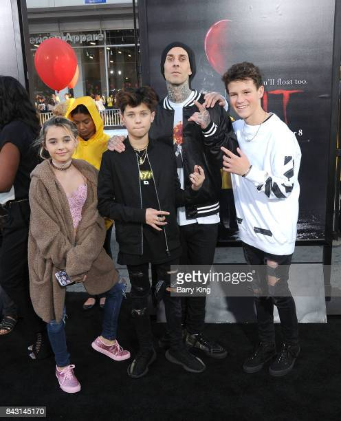 Musician Travis Barker and family attend the premiere of Warner Bros Pictures and New Line Cinemas' 'It' at TCL Chinese Theatre on September 5 2017...