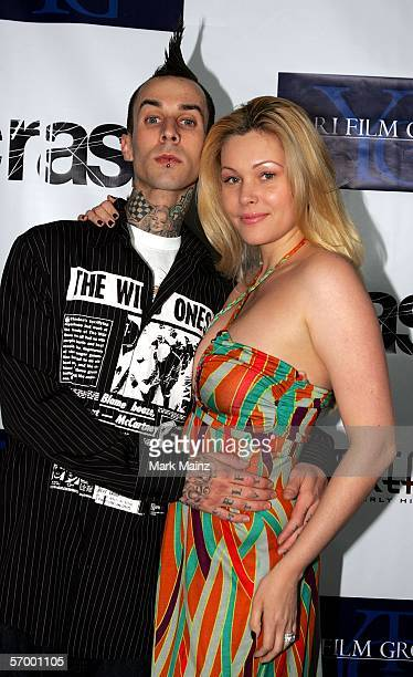 EXCLUSIVE Musician Travis Barker and his wife Shanna Moakler arrive at the Yari Film Group Crash Academy Party at the Crustacean Restaurant on March...