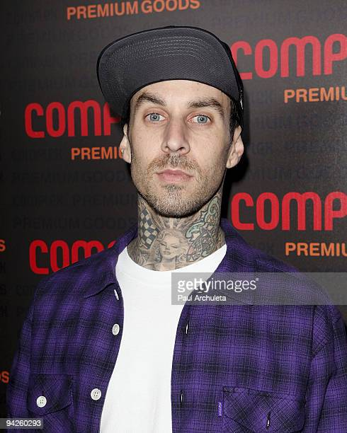 Musician Travis Barker arrives at MyHouse Nightclub on December 9 2009 in Hollywood California