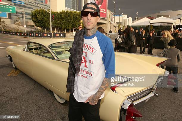 Musician Travis Barker attends the 55th Annual GRAMMY Awards at STAPLES Center on February 10 2013 in Los Angeles California
