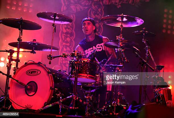 Musician Travis Barker performs with Run the Jewels onstage during day 2 of the 2015 Coachella Valley Music Arts Festival at the Empire Polo Club on...