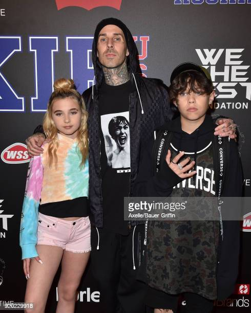 Musician Travis Barker son Landon Barker and daughter Alabama Barker attend ROOKIE USA Fashion Show at Milk Studios on February 15 2018 in Los...
