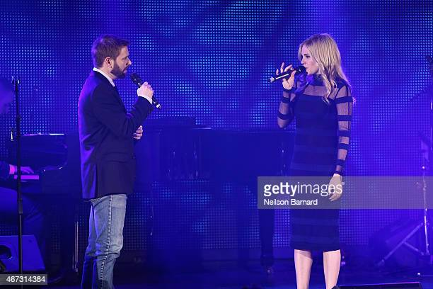 """Musician Trevor Vaughn and actress Mackenzie Mauzy perform on stage at Disney's Musical Birthday Tribute to Stephen Sondheim in celebration of """"Into..."""