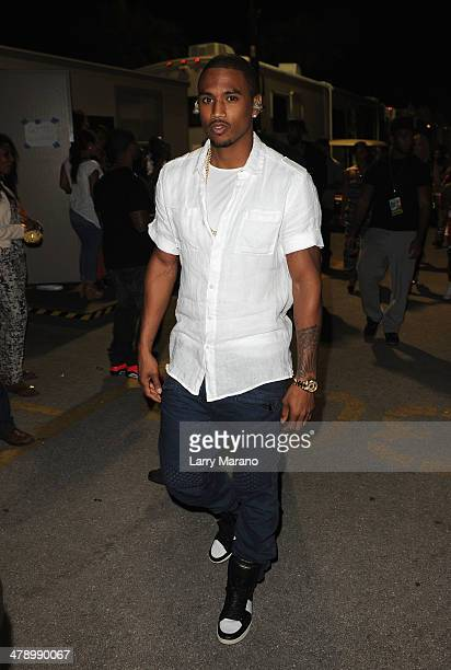 Musician Trey Songz attends Day 1 of Jazz In The Gardens at Sun Life Stadium on March 15 2014 in Miami Gardens Florida