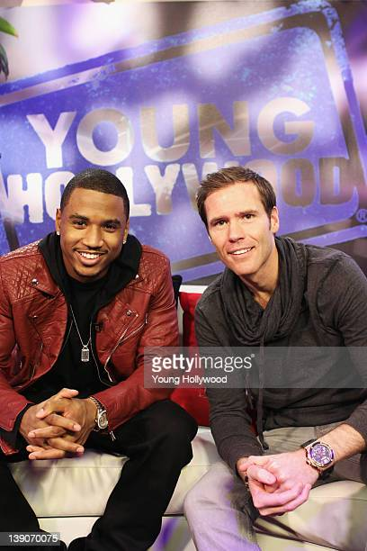 Musician Trey Songz visits with host Oliver Trevena at the Young Hollywood Studio on February 16 2012 in Los Angeles California
