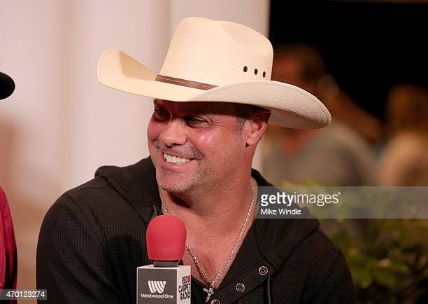 Musician Troy Gentry of Montgomery Gentry speaks at the Red Carpet Radio presented by Westwood One Radio during the 50th Academy Of Country Music...