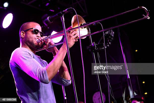 Musician Troy Trombone Shorty Andrews performs at the 2015 National Association of Music Merchants show at the Anaheim Convention Center on January...