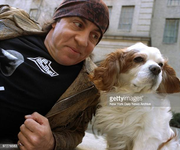 Musician turned actor Steve Van Zandt and his dog Jake take a breather while strolling along W 57th St