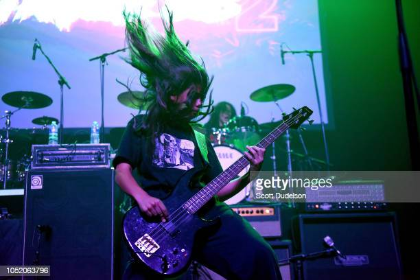 Musician Tye Trujillo of the band OTTO performs onstage during the Strange 80's concert at The Fonda Theatre on October 12 2018 in Los Angeles...