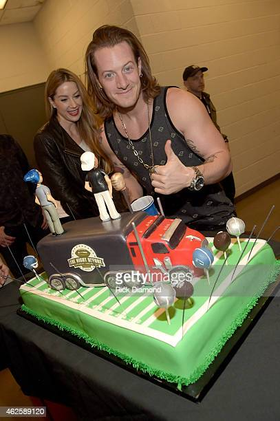 Musician Tyler Hubbard of Florida Georgia Line celebrates his birthday backstage during CBS Radio's The Night Before at US Airways Center on January...