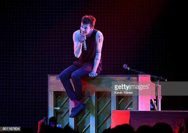 Musician Tyler Joseph of Twenty One Pilots performs onstage during 1067 KROQ Almost Acoustic Christmas 2015 at The Forum on December 12 2015 in Los...