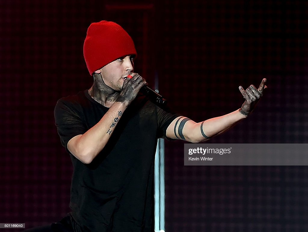 Musician Tyler Joseph of Twenty One Pilots performs onstage during 106.7 KROQ Almost Acoustic Christmas 2015 at The Forum on December 12, 2015 in Los Angeles, California.