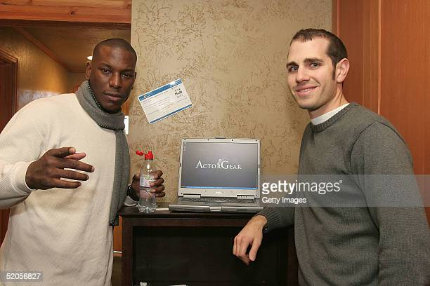 Musician Tyrese visits the ActorGearcom display at the Gibson Gift Lounge during the 2005 Sundance Film Festival on January 23 2005 in Park City Utah