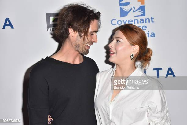 Musician Tyson Ritter and actor/singer Elena Satine attends the Covenant House of California 'An Evening of Dreams' Gala at Dream Hotel on January 17...