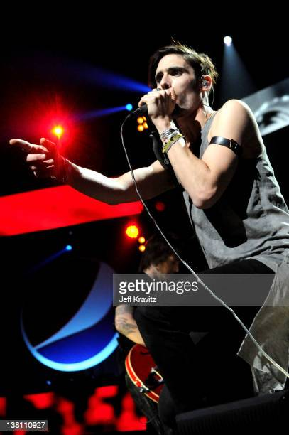 Musician Tyson Ritter of The AllAmerican Rejects performs onstage during VH1's Super Bowl Fan Jam at Indiana State Fairgrounds Pepsi Coliseum on...