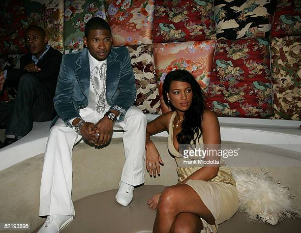 Musician Usher and Eisha Brightwell attend Usher's Private Grammy Party hosted by Entertainment Weekly held at the Geisha House on February 13 2005...