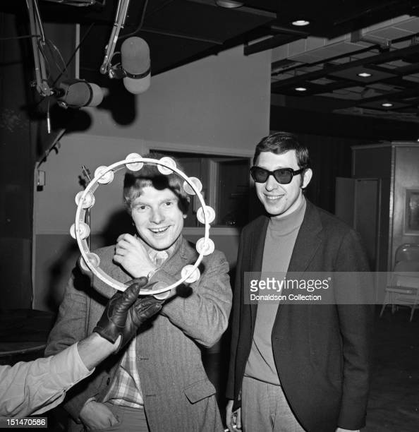 Musician Van Morrison and engineer Brooks Arthur pose for a portrait at a Bang Records recording session in the studio on March 28 1967 in New York...