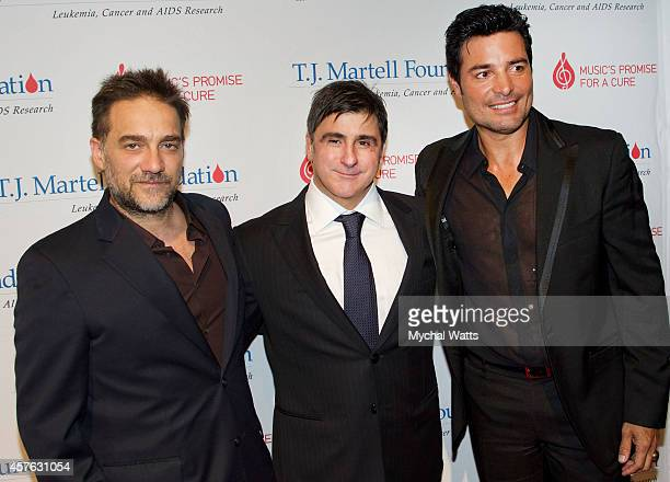 Musician Vencentico Sony Latin CEO Afo Verdeand Chayanne attends the 2014 TJ Martell Honors Gala New York at Cipriani 42nd Street on October 21 2014...