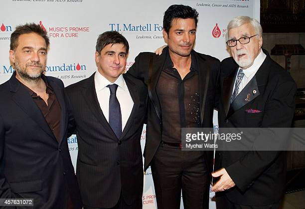 Musician Ventico Sony Latin CEO Afo Verde Chayanne and Founder TJ Martell and Founder TJ Martell Fund Tony Martell attends the 2014 TJ Martell Honors...