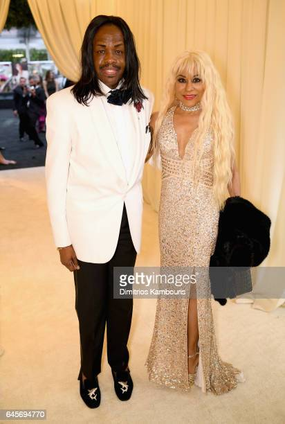 Musician Verdine White and Shelly Clark attend the 25th Annual Elton John AIDS Foundation's Academy Awards Viewing Party at The City of West...