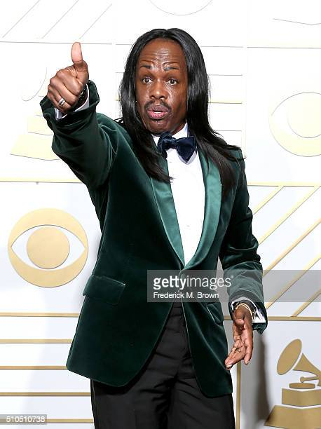 Musician Verdine White of Earth Wind Fire poses in the press room during The 58th GRAMMY Awards at Staples Center on February 15 2016 in Los Angeles...