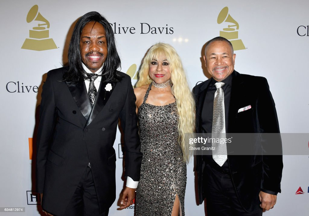 Musician Verdine White, Shelly Clark White and musician Ralph Johnson attend Pre-GRAMMY Gala and Salute to Industry Icons Honoring Debra Lee at The Beverly Hilton on February 11, 2017 in Los Angeles, California.