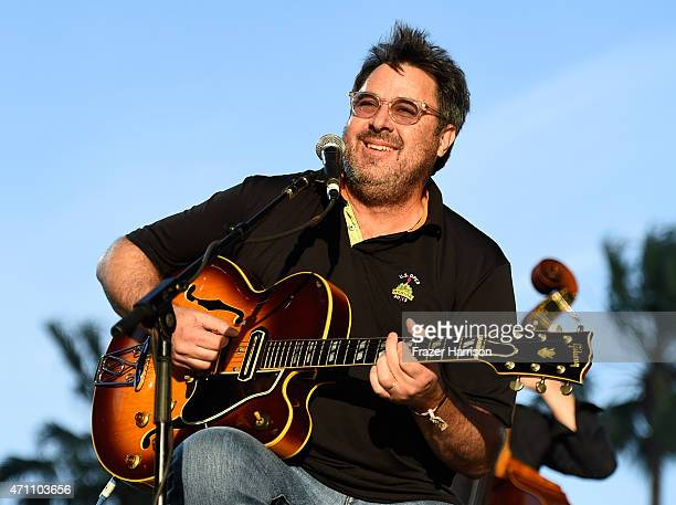 Musician Vince Gill performs onstage with The Time Jumpers during day one of 2015 Stagecoach California's Country Music Festival at The Empire Polo...
