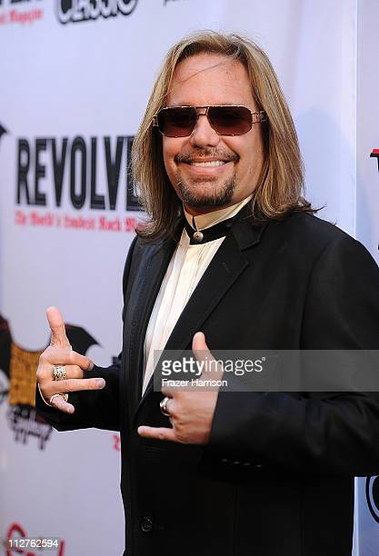 Musician Vince Neil arrives at the 3rd Annual Revolver Golden God Awards at the Club Nokia on April 20 2011 in Los Angeles California