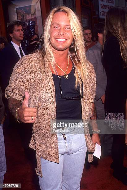 Musician Vince Neil of Motley Crue attends the Bill Ted's Bogus Journey Hollywood Premiere on July 11 1991 at the Mann's Chinese Theatre in Hollywood...