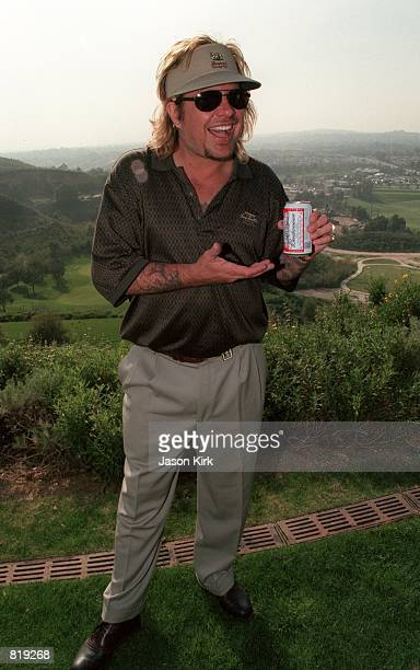 Musician Vince Neil with a beer in hand attends the 2nd Annual Mark Brian Celebrity Golf Tournament March 17 2001 in Fullerton CA