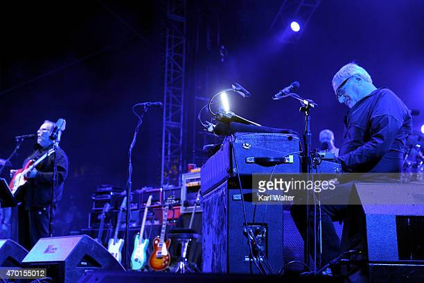 Musician Walter Becker and Donald Fagen of Steely Dan perform onstage during day 1 of the 2015 Coachella Valley Music And Arts Festival at The Empire...