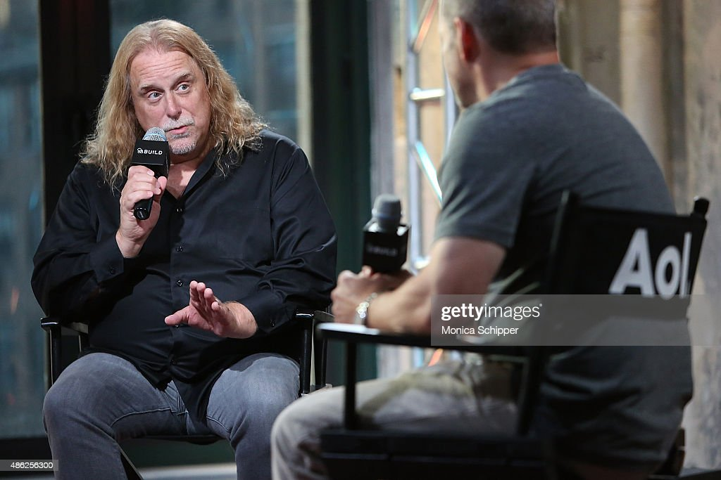 Musician Warren Haynes (L) speaks with moderator Alan Paul at AOL BUILD Speaker Series: Warren Haynes Discusses His New Album 'Ashes And Dust' at AOL Studios In New York on September 2, 2015 in New York City.
