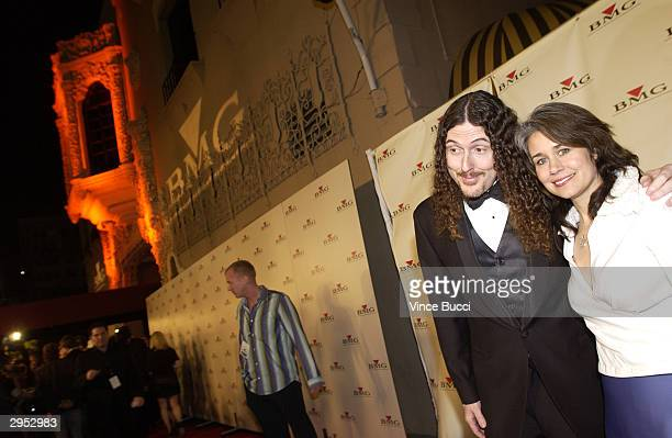 Musician Weird Al Yankovic and his wife arrive at the BMG PostGrammy Party following the 46th Annual Grammy Awards at the Avalon on February 8 2004...