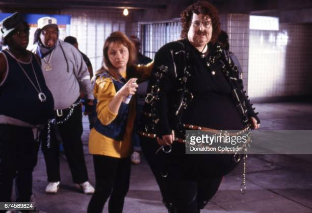 Musician 'Weird' Al Yankovic filiming the video for his song 'Fat' in costume which was released on April 12 1988 in Los Angeles California