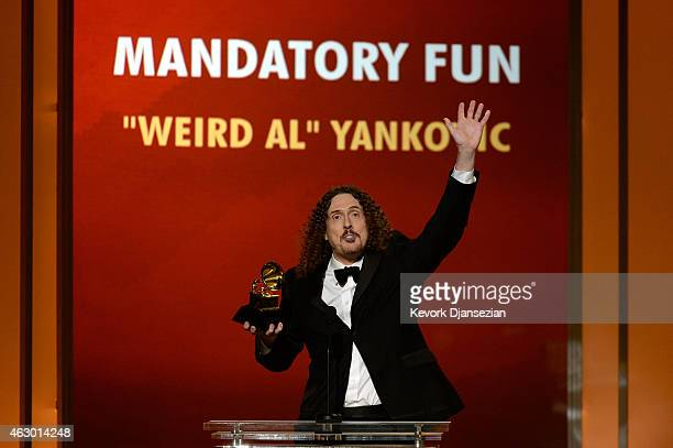 Musician 'Weird Al' Yankovic speaks onstage during the The 57th Annual GRAMMY Awards Premiere Ceremony at Nokia Theatre LA Live on February 8 2015 in...