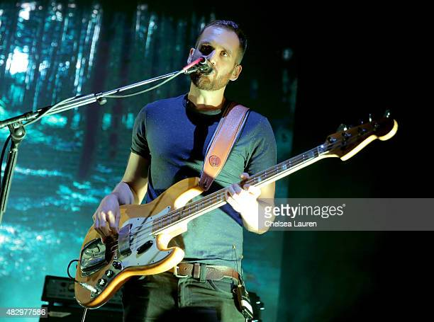 Musician Will Farquarson of Bastille performs onstage during the MercedesBenz 2015 Evolution Tour on August 4 2015 in Los Angeles California