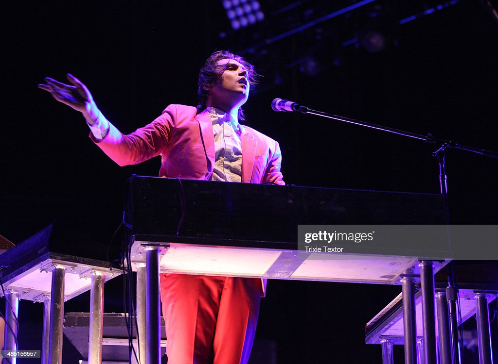Musician William Butler of Arcade Fire performs onstage during day 3 of the 2014 Coachella Valley Music & Arts Festival at the Empire Polo Club on April 13, 2014 in Indio, California.