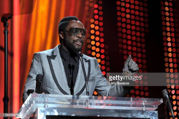 Musician Will.I.Am speaks onstage at 2011 MusiCares Person of the Year Tribute to Barbra Streisand at Los Angeles Convention Center on February 11,...