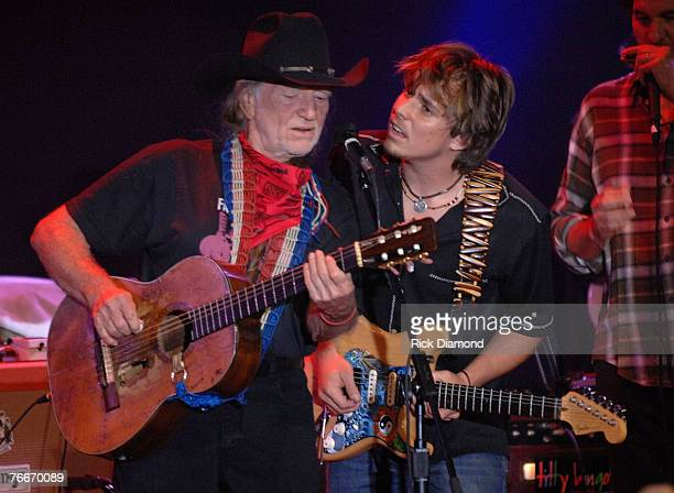 Musician Willie Nelson along with Musician and Son Lukas Nelson preform live to help The Launch of the Sustainable Biodiesel Alliance at the Hard...