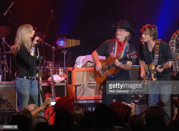 Musician Willie Nelson along with Musician Daughter Paula Nelson and Musician Son Lukas Nelson preform live to help The Launch of the Sustainable...
