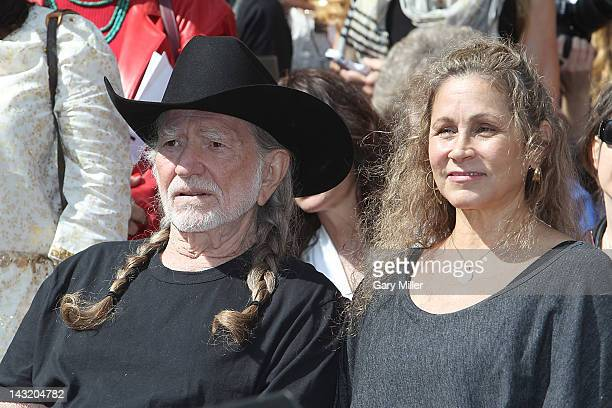 Musician Willie Nelson and his wife Annie Nelson during the unveiling of Willie's statue at ACL Live on April 20 2012 in Austin Texas