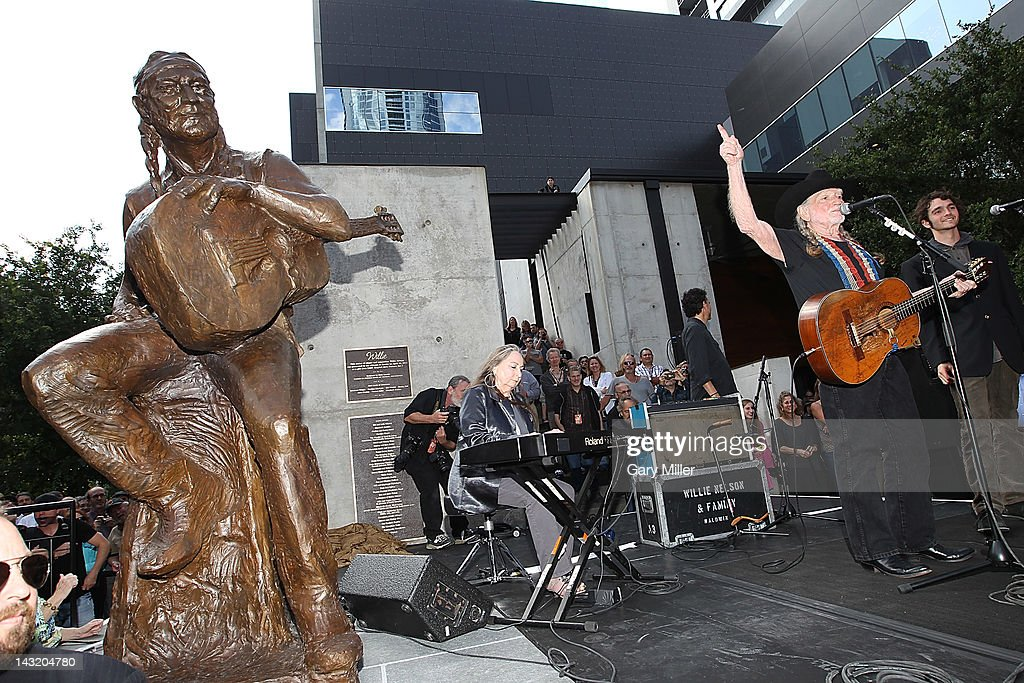 Musician Willie Nelson performs after the unveiling of his statue at ACL Live on April 20, 2012 in Austin, Texas.