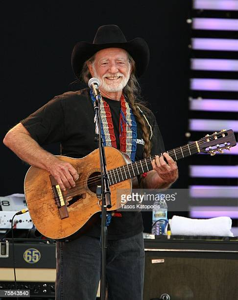 Musician Willie Nelson performs during the Crossroads Guitar Festival 2007 held at Toyota Park on July 28 2007 in Bridgeview Illinois