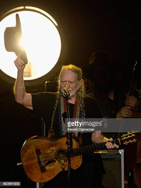 Musician Willie Nelson performs onstage at the 25th anniversary MusiCares 2015 Person Of The Year Gala honoring Bob Dylan at the Los Angeles...