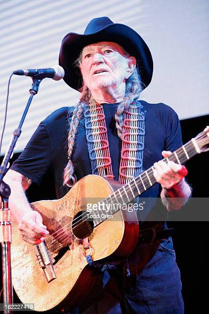 Musician Willie Nelson performs onstage during Global Green USA's 10th Annual PreOscar Party at Avalon on February 20 2013 in Hollywood California
