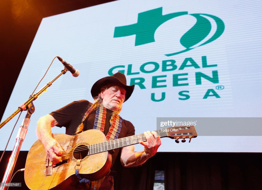 Musician Willie Nelson performs onstage during Global Green USA's 10th Annual Pre-Oscar Party at Avalon on February 20, 2013 in Hollywood, California.