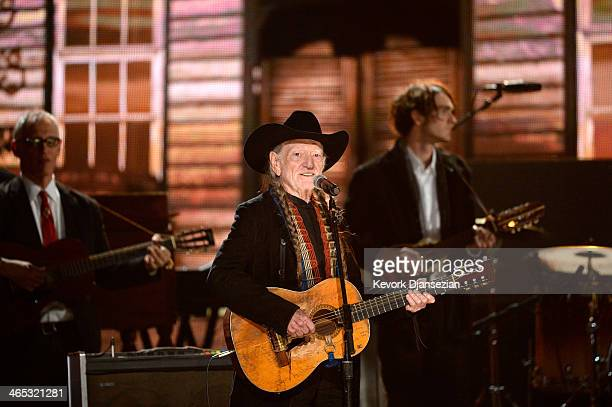 Musician Willie Nelson performs onstage during the 56th GRAMMY Awards at Staples Center on January 26 2014 in Los Angeles California